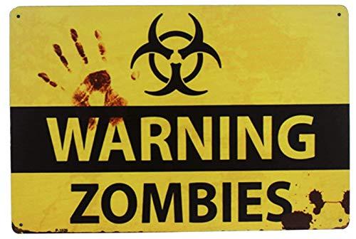 SUMIK Warning Zombies, Metal Tin Sign, Vintage Art -