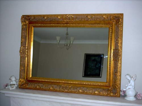 MirrorOutlet Espejo de peluquería y Belleza Dorado Elizabethan Completo con Cristal de Pilkington Tamaño Grande 102 cm x 77 cm con Enorme Marco de 12,7 cm.