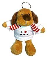 Perro de peluche (llavero) con Amo Teresa en la camiseta (nombre de pila/apellido/apodo) de SHOPZEUS