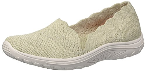 Skechers Women's Reggae Fest-Trail Dame-Scalloped Collar, Engineered Skech-Knit Slip-on Loafer, Natural, 10 M US - Reggae Skechers Fest