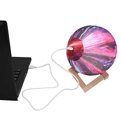 PDDXBB USB Wiederaufladbare 3D Star Galaxy Licht Bunte Ändern Nacht Lampe Sternenhimmel Mond Beleuchtung Für Kinder Schlafzimmer Wohnkultur Wahre Farbe (Warmweiß) Durchmesser: 15 cm (Touch) -