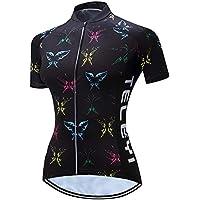 Camiseta de ciclismo para mujer, manga corta y ciclismo reflectante 3 bolsillos S-3XL