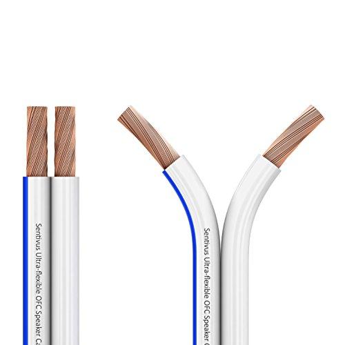 Sentivus 15m - 2 x 1,5mm² Kupfer Lautsprecherkabel weiß - Referenzklasse 99,9% OFC Vollkupfer 0,10mm Litze Hifi Boxenkabel 1,5mm² Kabel-Querschnitt - 15 Meter Rolle - Qualität Made in Germany von Sentivus Lautsprecherkabel-anschlüsse