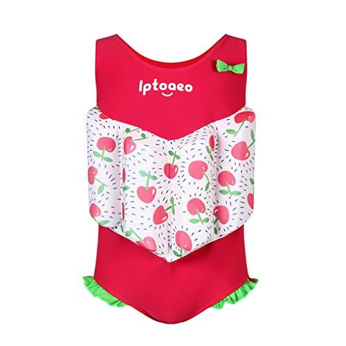 Gogokids Mädchen Einteiler Bademode Bojen-Badeanzug - Badebekleidung für Kinder mit Schwimmbojen Ärmellos Float Suit Badeanzug mit Schwimmhilfe