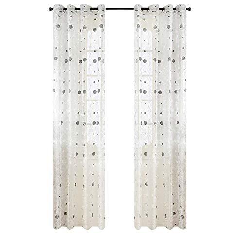 Top Finel tratamientos paneles transparentes cortinas de lunares de Nido de Pájaro ojales, solo panel, poliéster y mezcla de poliéster, White(Grommets), 140 x 245 cm
