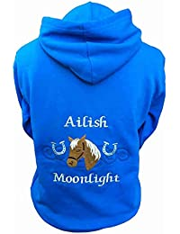 Personalised embroidered horse and horseshoes hoodie