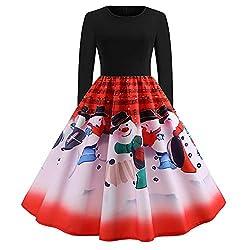 OverDose Damen Frohe Weihnachten Stil Frauen Vintage Print Langarm Weihnachten Abend Party Cosplay Elegante Slim Swing Kleid Geschenk(X-Rot,S)
