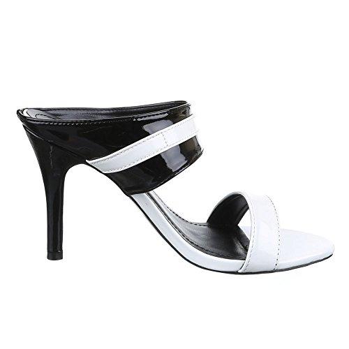 Damen Schuhe, AF16226, SANDALETTEN HIGH HEELS PUMPS Weiß Schwarz