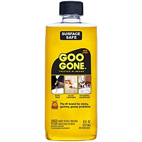 Goo Gone Original Liquid - Surface Safe Adhesive Remover – Safely removes Stickers, Labels, Decals, Residue, Tape, Chewing Gum, Grease, Tar – 8
