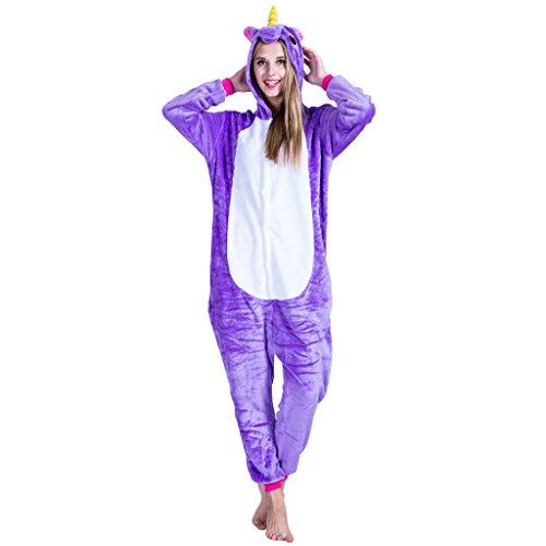 EraSpooky Unisexe Adulte Flanelle Animal Pyjamas Purple Licorne Cosplay Kigurumi