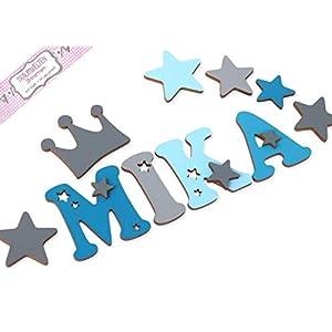 Holzbuchstaben Kinderzimmer-Tür in tollen Farbkombinationen I Inkl. 2 Sternen sowie Klebepads I Perfektes Geburtsgeschenk oder Taufgeschenk I Größe 10cm