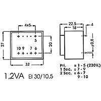 Info Games 139078 Printtrafo, 1.2VA, 2 x 9V, 2 x 0.067 Amp