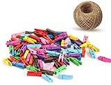 g2plus 100 Clips Photo en bois Pinces à linge colorées vêtir Papier Photo Craft DIY clip avec 20 m Ficelle de jute
