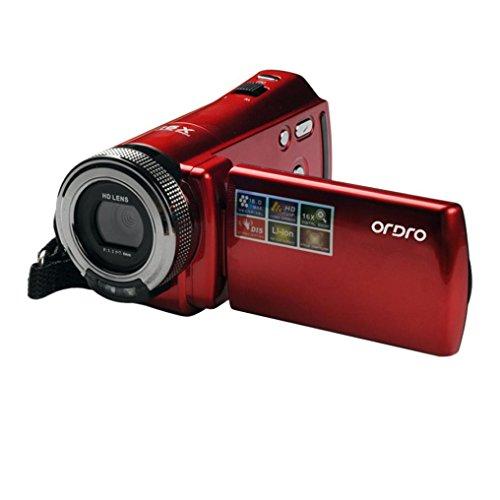 LCLrute ORDRO DDV-108 16MP 720 P 16X Digitaler Zoom DVC Digitaler Videokamera Camcorder mit 2,7 Zoll TFT LCD Bildschirm (Rot)