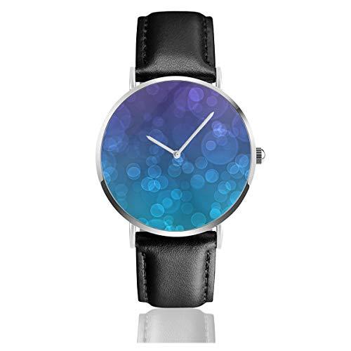 YR-Unque Lederarmbanduhren New Purple and Teal Wallpaper Unisex Klassische Quarzuhr PU Leder Uhren Business Armbanduhr Dress Uhren mit silbernem Edelstahlgehäuse, weiß, Einheitsgröße -
