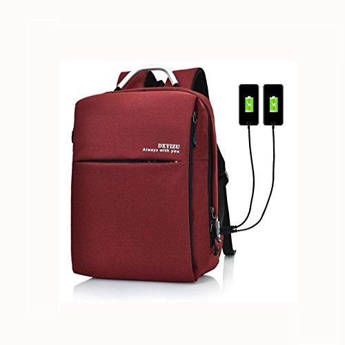 16 Hafen-faser (Backpack Laptop Rucksack 16 Zoll Mit doppelt aufladen Hafen , Grey)