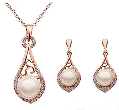 Elensan1 a forma di goccia con perle Create-Set di gioielli con orecchini e collana con ciondolo, in confezione regalo