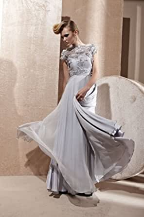 Elliot Claire Nightingale Silver Chiffon Evening Dress With Floral Pattern