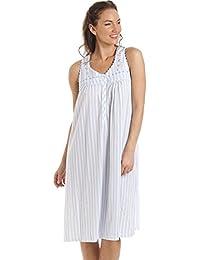 Camisón sin mangas para mujer - Rayas - Azul y blanco
