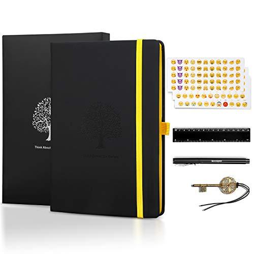 l, Sotor Liniertes Notizbuch, Prämie Dickes Papier 125G/m² A5 Tagebuch mit PU Leder + 1 Prämie Stift + 3 Emoji Aufkleber + 1 Lineal + 1 Lesezeichen + 1 Geschenk Kasten ()
