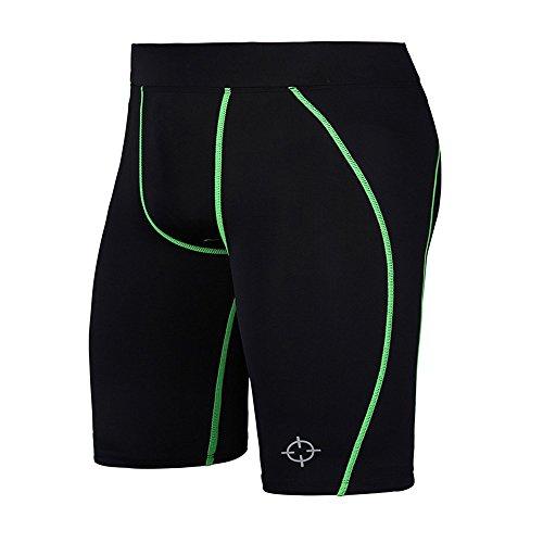 RIGORER Herren Kompression Baselayer Running Capri Tights Shorts 22,9cm, Herren, Grün, Small - Capri Running Shorts