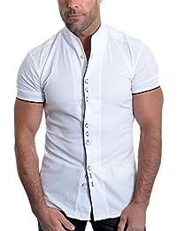 D&R Fashion Men's Piping Shirt with Short Sleev and Grandad Collar