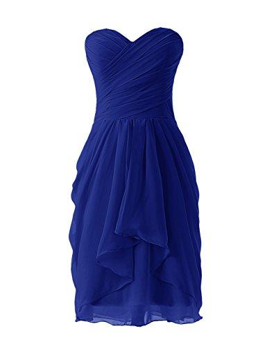 Dressystar Robe de demoiselle d'honneur/soirée/bal courte, à Col en Cœur,en Mousseline Bleu Saphir