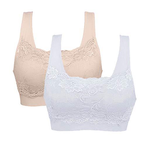 Litthing Underwear Damen Sport BH Spitze Büstenhalter 1/2/3er Pack Atmungsaktiver Bequem für Yoga Fitness-Training (Weiß+Hautfarbe, XXL)
