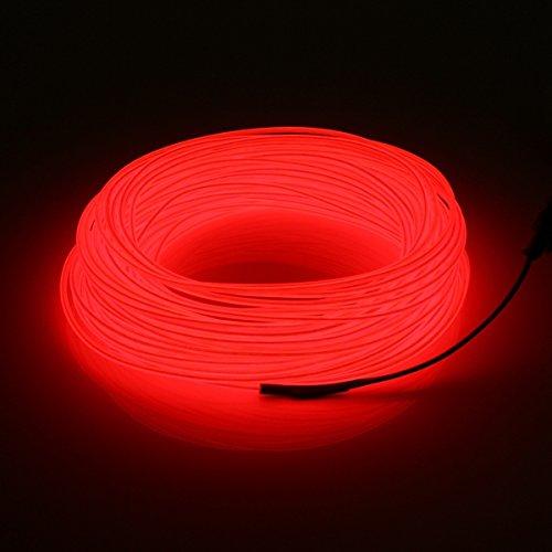 MASUNN 20M El LED Flexible Tube Souple Fil Neon Glow Voiture Corde Bande Lumière Noël Décor DC 12V-Rouge