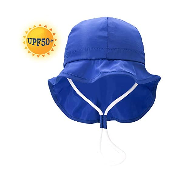 UPF50+ Sombrero de Sol con Cubrenuca para Bebé Niños Niñas Anti-UV Gorro Verano Gorrito para Playa, Natación, Pesca… 3