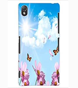 ColourCraft Flowers & Butterflies Design Back Case Cover for SONY XPERIA Z3