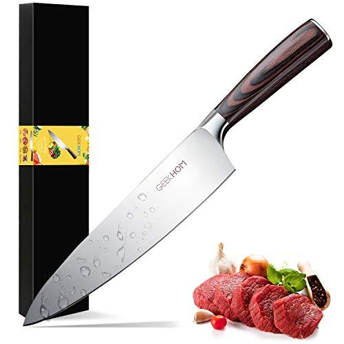 GEEKHOM Cuchillo de Cocina, Cuchillo de Cocinero Profesional Japones, Acero Inoxidable, Mango Ergonómico y Cómodo para Vegetales, Frutas, Carne, 21cm ( Plata )