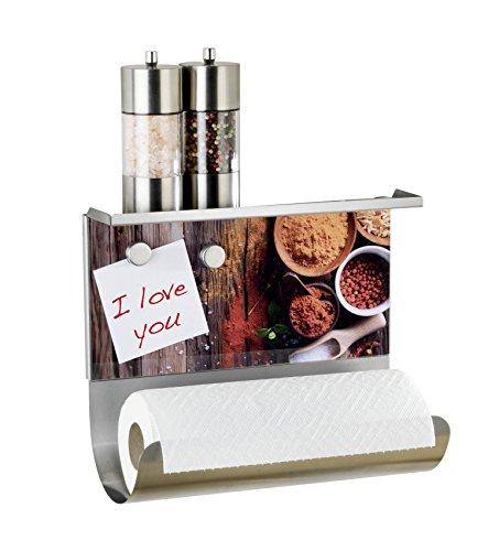 WENKO 53410100 Magnetischer Rollenhalter Gewürze - mit Ablage , Gehärtetes Glas, 30 x 26 x 14.5 cm, Multicolor