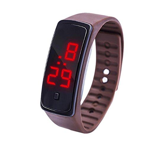 Uhren für Kinder, Winkey LED Digital Display Armband Kinder Studenten Silica Gel Sport Armbanduhr coffee