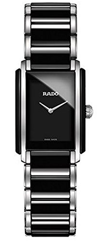 Rado Women's Integral Two Tone Ceramic Band Steel Case Swiss Quartz Black Dial Analog Watch R20613152