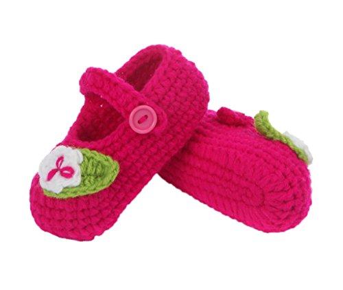 Smile YKK 1 Paar One Size 11cm Baby Unisex süße Strick Strickschuh klein Schuh ohne Deko Grün Blüte Rosa