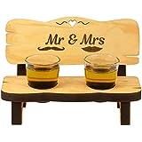 Schnapsbank mit 2 Gläsern und Mr & Mrs Gravur mit witzigen Motiven: gravierte Hochzeitsgeschenke, Geschenke zum Valentinstag, Jahrestag, Hochzeitstag