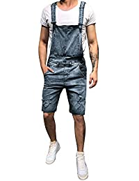 93bcf2b0c11 Dihope Homme Vintage Salopette en Denim Mode Short Trou Déchiré Fashion  Pantalon Court Jeans Loisir Pants