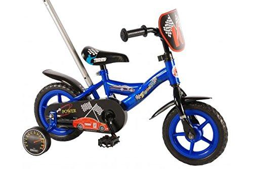 Bici Bicicletta Bambino 10 Pollici Scatto Fisso Formula 1 con Maniglia di Spinta Blu Nero 85% Assemblata