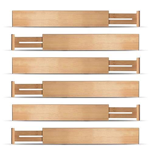 TOOGOO Einstellbare Erweiterbare Trenn W?Nde Bambus Schublade Trenn Wand Schubladen Organisatoren NatüRlicher Bambus Am Besten für KüChe, Kommode, Schreibtisch - Set Von 6 StüCke