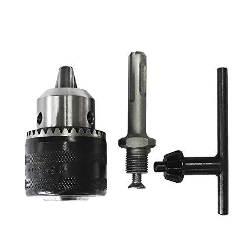 S&R Zahnkranzbohrfutter 1,5-13mm 1/2-20UNF, Bohrfutter mit Adapter für SDS-plus Aufnahme, Bohren Spannen
