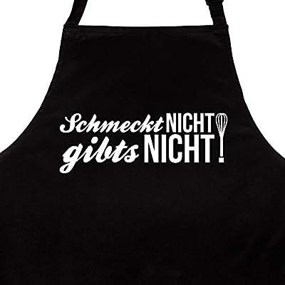 """Wandkings Schürze """"Schmeckt nicht gibt's nicht"""" - Grillschürze - Küchenschürze - Kochschürze - Latzschürze mit verstellbarem Nackenband"""
