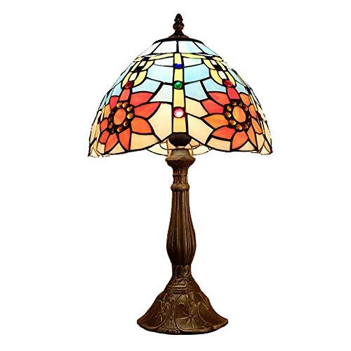 QCKDQ 12 Zoll Schreibtisch Licht, Tiffany Stil Tischlampe Mit Sonnenblume Und Online Schalter Glasmalerei, Schlafzimmer Nachttisch Schreibtisch Kleine Tischleuchte Dekorative E27