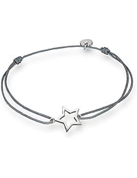 Glanzstücke München Damen-Textilarmband grau Stern Sterling Silber 15 - 22 cm - Armbändchen Armband mit Anhänger...