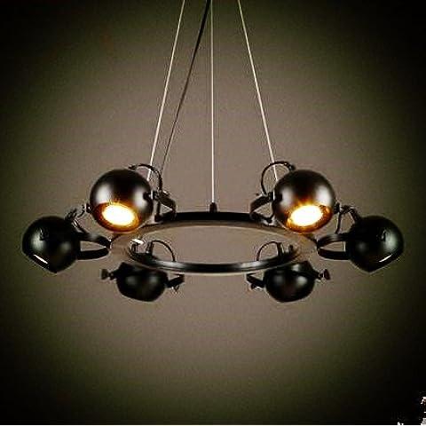 LYNDM Paese americano LED luce pendente con 6 luci infissi Loft Retro illuminazione industriale Vintage Lampadario Lampe Lampara(#DD2315)