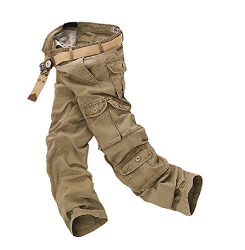 CuteRose Men Big and Tall Multi-Pockets Cotton Straight Cargo Work Pants Khaki 41 Big And Tall Cotton Belt