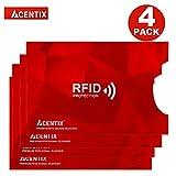 4 X ACENTIX Red RFID&NFC Blocking Sleeves per la protezione della carta di credito,Protezione da furto d'identità per uomini e donne,Si adatta perfettamente a portafoglio / borsellino