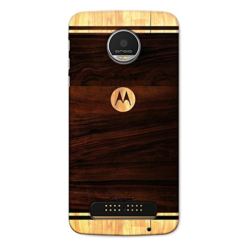 CrazyInk Moto Z Play Printed Polycarbonate Wooden Logo Scratch-Proof ,Shock-Proof , Waterproof Slim Light Weight Hard Back Cover
