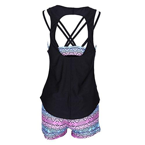 SUNNOW® Damen Tankini Strand Bikini Set Bademode Stamm bedruckt Yoga Laufen Sport Top Bikini Oberteil + Hose 3-Teilig Mehrfarbig
