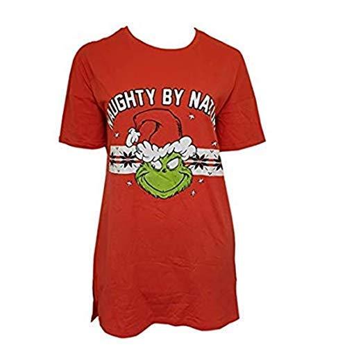 Licensed-Primark Mujer Navidad el Grinch Camisón de Algodón para Ladies-100% de Algodón hasta Rodilla - Rojo, (UK 14-16 / EUR 42-44 / USA 10-12 /IT 46-48)